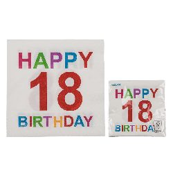 Tovaglioli carta colorati 18 anni festa happy birthday