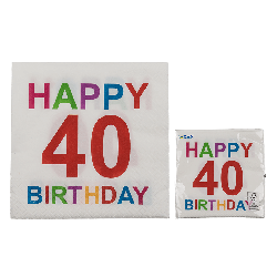 Tovaglioli carta colorati 40 anni festa happy birthday