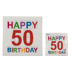 Tovaglioli carta colorati 50 anni festa happy birthday