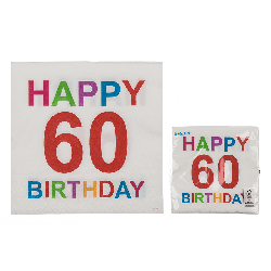 Tovaglioli carta colorati 60 anni festa happy birthday