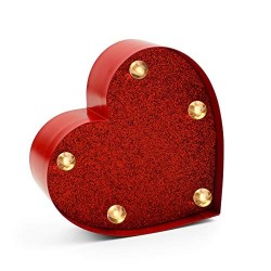 Luce Led Cuore Rosso Glitter