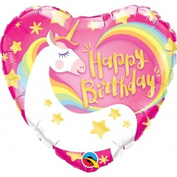 Palloncino Cuore Unicorno Happy Birthday  46 Cm