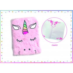 Quaderno Peloso Unicorno Rosa Notebook in Peluche 20 cm