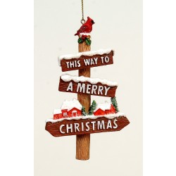 Decorazione Natale Segnaletica 12cm This Way To A Merry Christmas
