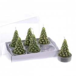 Tea light albero natale neve d 4 6pz candela