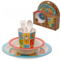 Set Pappa Space 5 Pezzi Bamboo Biodegradabile