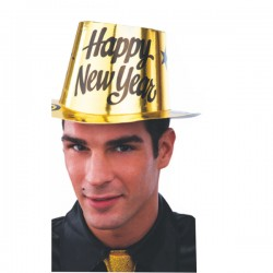 Cappello happy new year capodanno carta metallizzata cilindro