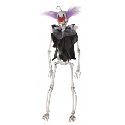 Scheletro Clown Occhi Luminosi Decorazione Halloween Da Appendere 40cm Con Capelli Viola