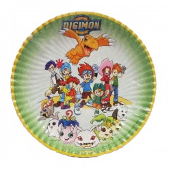 Piatti piani festa digimon party 23 cm 10pz