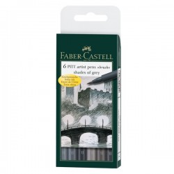 Faber Castell Pitt Artist Pens Shades Of Grey Set 6 pz