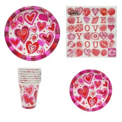 Set festa 4 pezzi love cuori party