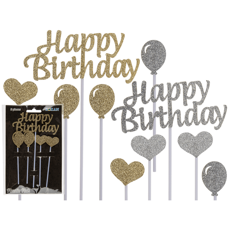 Decorazione Torta Scritta Happy Birthday Glitter 5pz