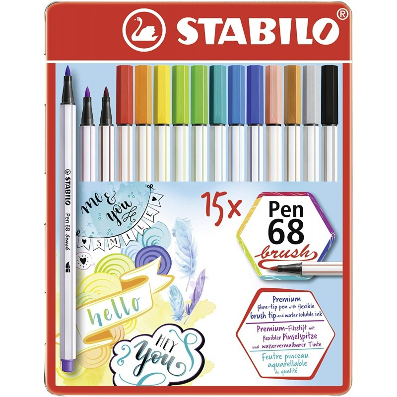 Pennarello Premium STABILO Pen 68 brush Scatola in metallo da 15