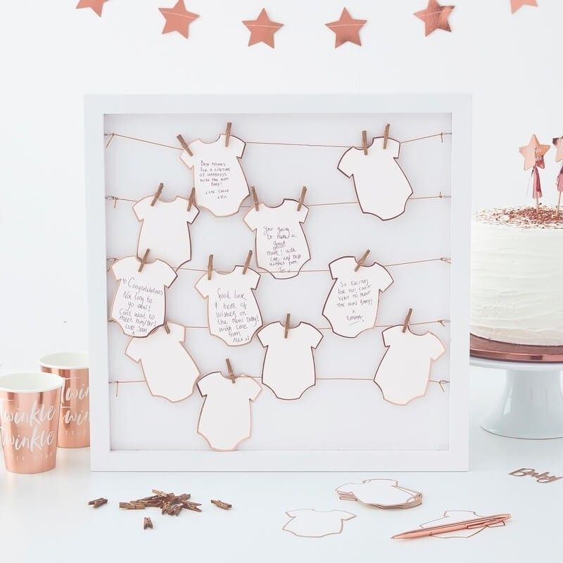 Baby Shower GUEST BOOK Nascita 24 Tags in Cornice 40 cm