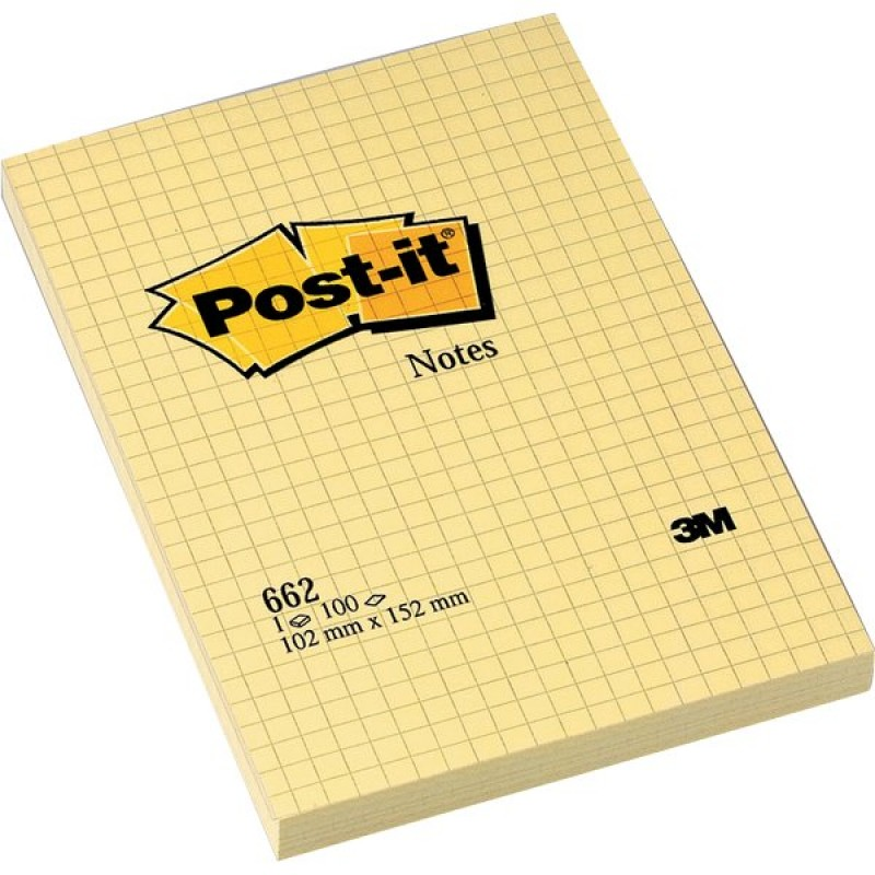 Post it notes  giallo canary 100 fogli quadri 102x152 mm