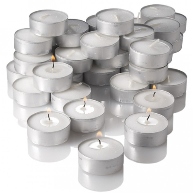 Candele bianche con coppetta in metallo tea light 80 pz