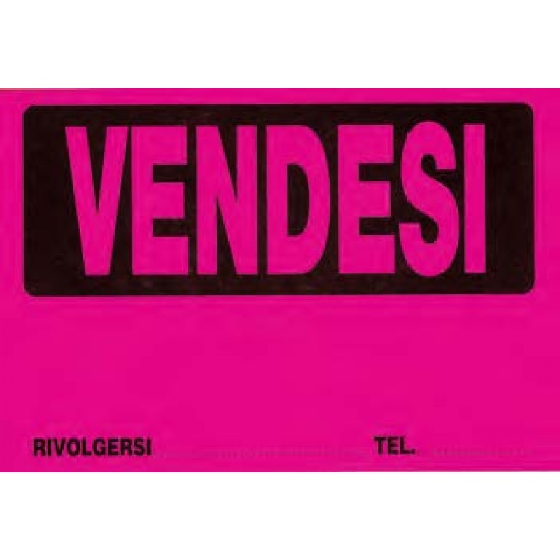 Cartello vendesi in cartoncino fluorescente colori assortiti 25 pz
