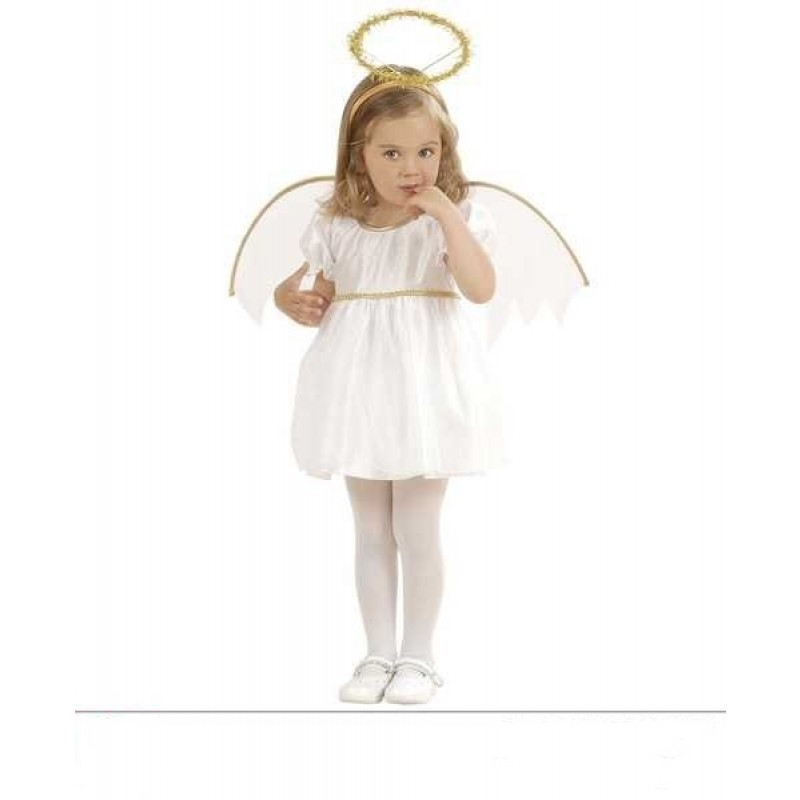 Costume Angioletto bambina angelo bianco oro Carnevale Natale