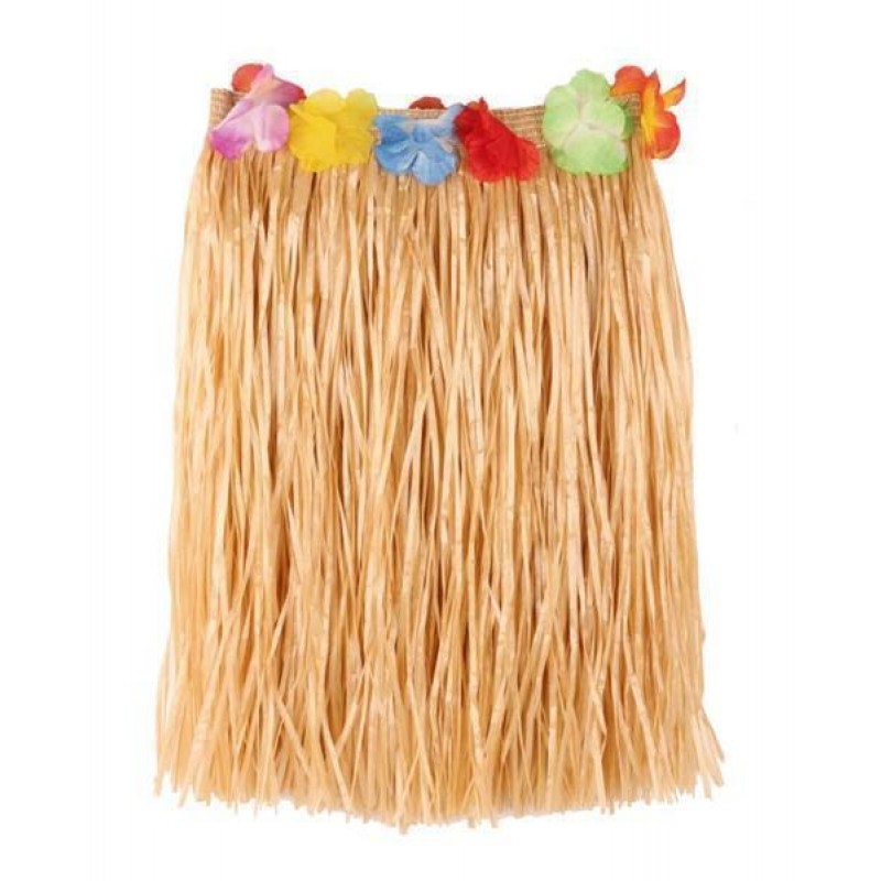 Gonna raffia naturale fiori 60cm hawaii carnevale hawaiano
