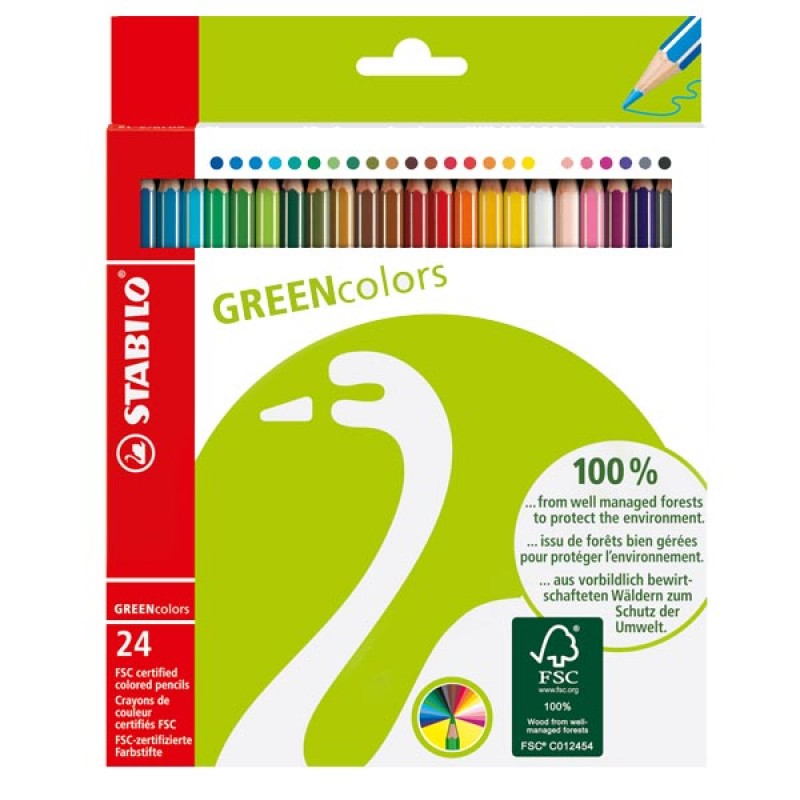 Pastelli stabilo green colors conf. 24 pz