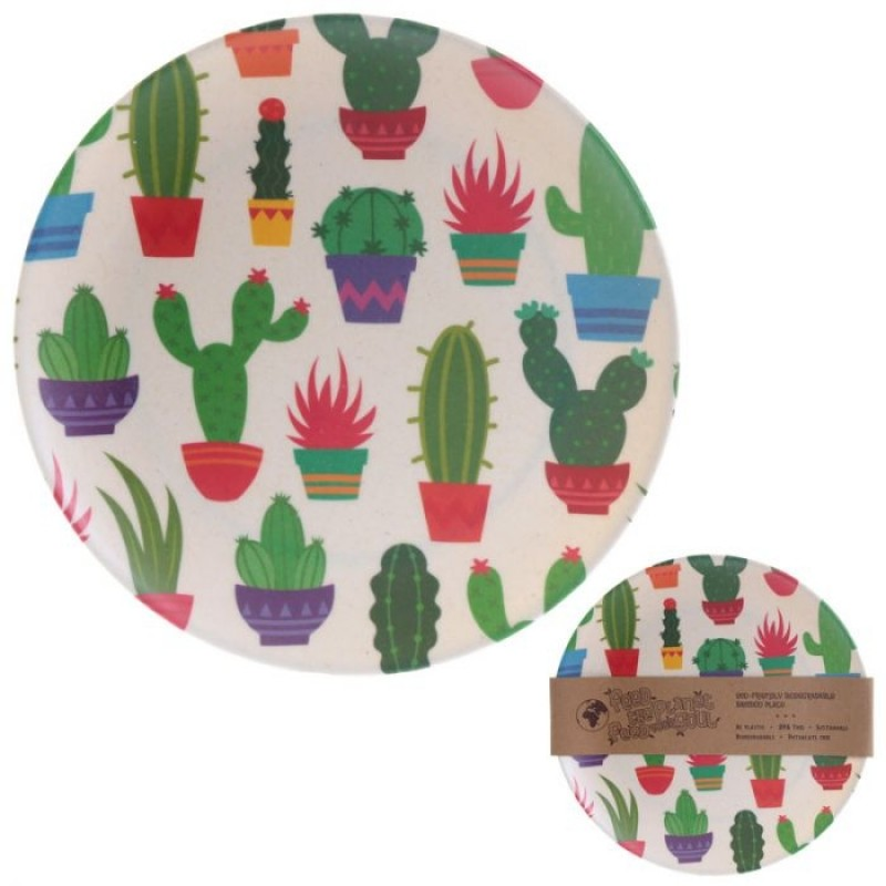 Piatto Bamboo Cactus Eco Friendly Biodegradabile
