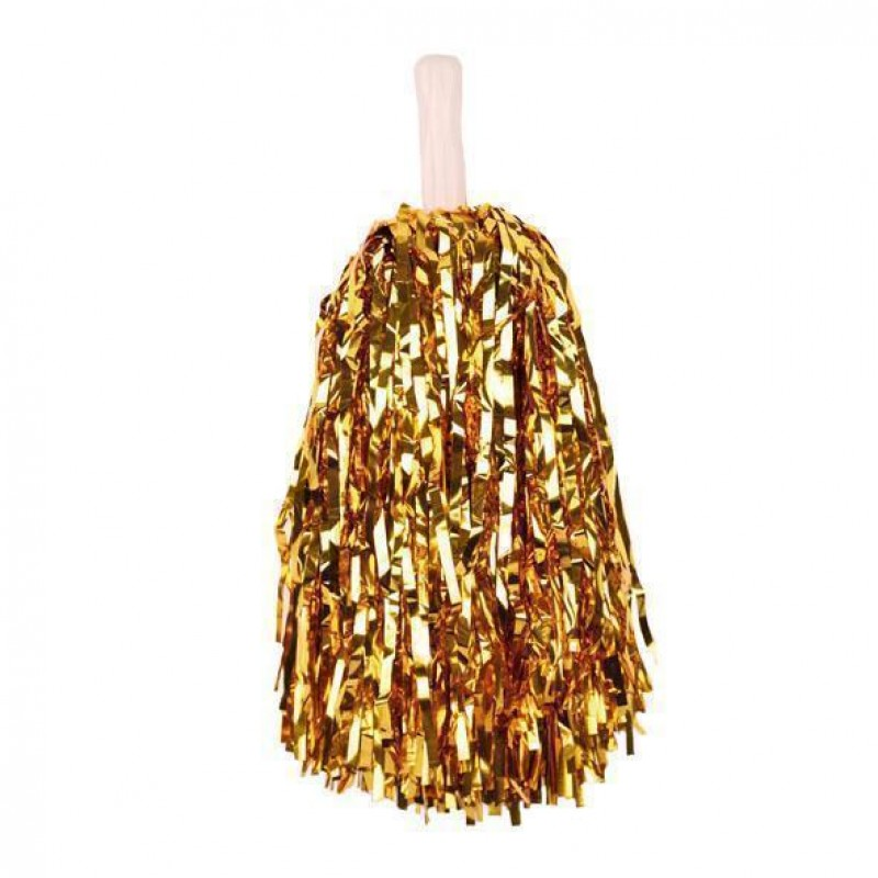 Pom pon cheerleaders 35 cm accessori carnevale oro