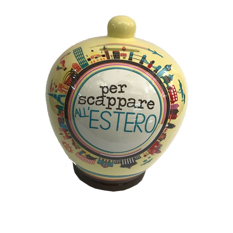 Salvadanaio scappare all'estero money bank terracotta 17cm