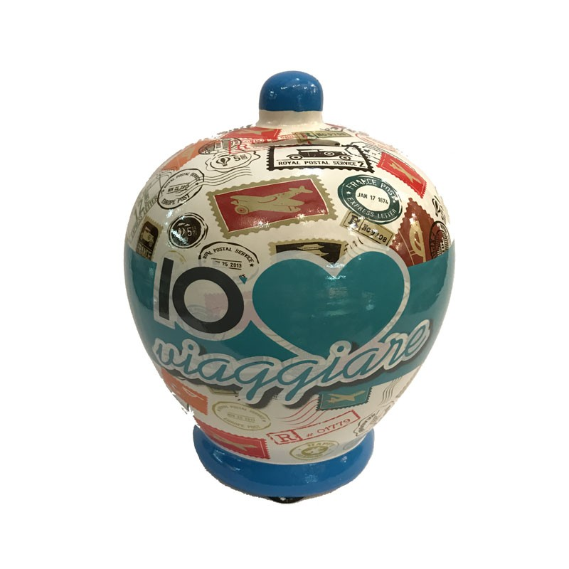 Salvadanaio amo viaggiare money bank terracotta 17cm