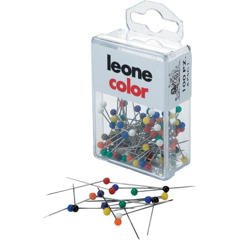 Spilli map pins dellera  l 17 mm  testa tonda colorata conf. 100 pz
